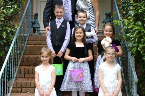 family picture, blended family, six kids